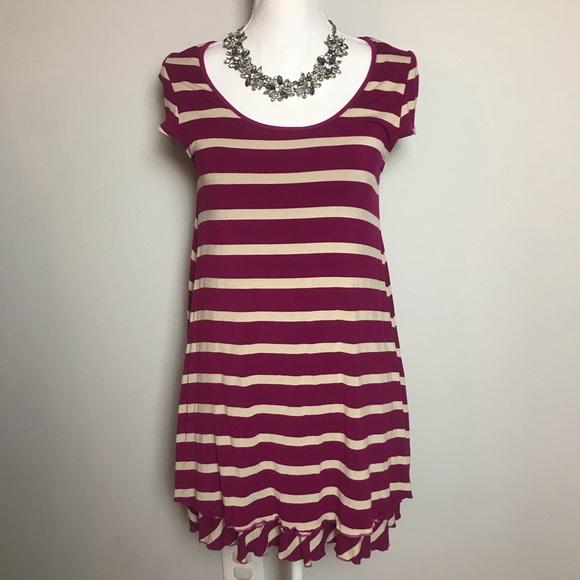 Kensie Dresses & Skirts - KENSIE stripe purple / white ruffle dress